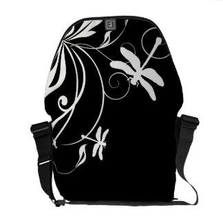 Black and White Whimsical Dragonfly Messenger Bag