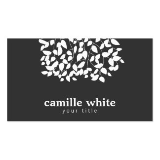 Black and White Whimsical Leaves Business Cards