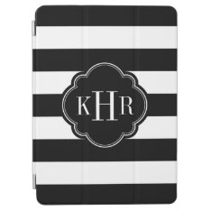 Black And White Wide Stripes Monogram Ipad Air Cover at Zazzle