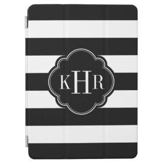 Black and White Wide Stripes Monogram iPad Air Cover