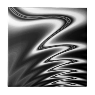Black and White Wiggle Room Small Square Tile