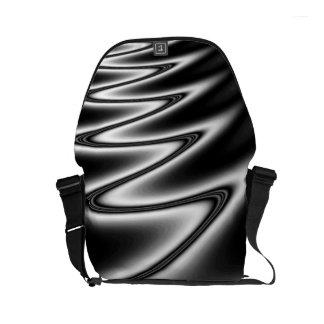 Black and White Wiggle Small Messenger Bag