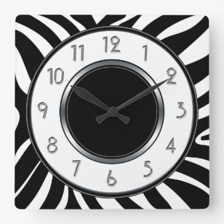Black and White Wild Safari Zebra Pattern Square Wall Clock