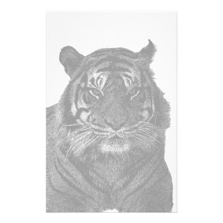 Black and White Wild Tiger Stationery