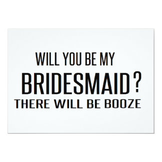 Black and White will you be my bridesmaid funny Invitation