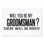 black and white will you be my groomsman? wedding card