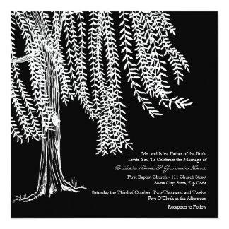 Black and White Willow Tree Wedding Invitation