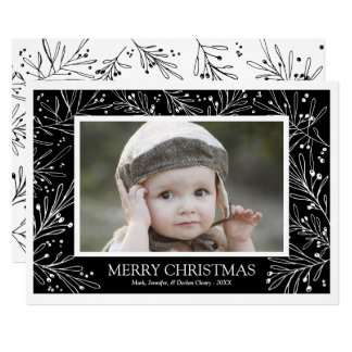 Black and White Winter Branches Holiday Photo 2017 Card