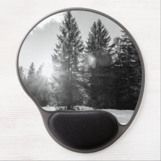 Black And White Winter Forest Landscape Gel Mouse Pad
