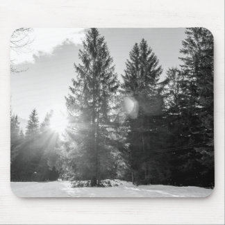 Black And White Winter Forest Landscape Mouse Pad