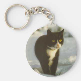 Black and white winter kitten keyring keychain