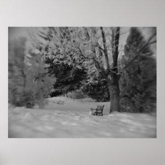 Black and White Winter Park Bench Print