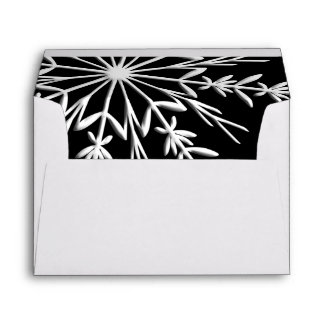 Black and White Winter Snowflake Envelope