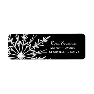 Black and White Winter Snowflake Return Address Label