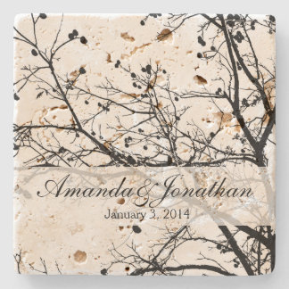 Black and White Winter Tree Stone Coaster