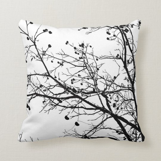 Black and White Winter Tree Throw Pillow