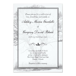 Black and White Winter Tree Wedding Invitation 5