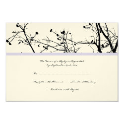 Black and White Winter Tree Wedding RSVP 3.5x5 Paper Invitation Card