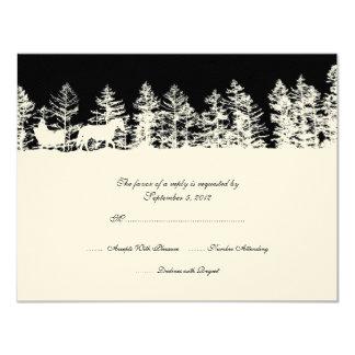 Black and White Winter Wedding RSVP Custom Invite