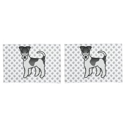 Black And White Wire Fox Terrier Cute Cartoon Dog Pillow Case