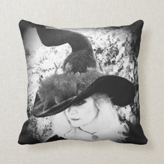 Black and White Witch Pillow Pagan Wiccan Cushion