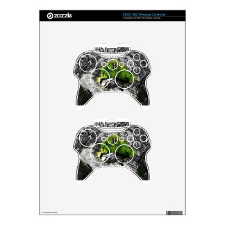 black and white with a touch of green xbox 360 controller decal