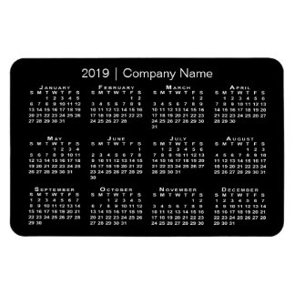 Black and White with Company Name 2019 Calendar Magnet