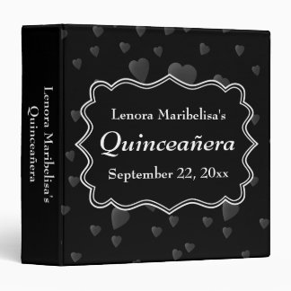 Black and White with Dark Hearts Quinceanera Binder