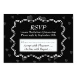 "Black and White with Dark Hearts Quinceanera 3.5"" X 5"" Invitation Card"