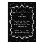 "Black and White with Dark Hearts Quinceanera 5"" X 7"" Invitation Card"