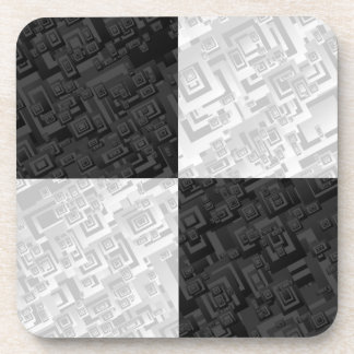 Black and White with Gray Squares Pattern 6pcs Beverage Coaster