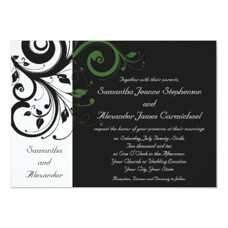 Black and White with Green Swirl Accent Card