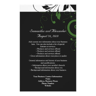 Black and White with Green Swirl Accent Flyers