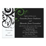 """Black and White with Green Swirl Accent 5"""" X 7"""" Invitation Card"""