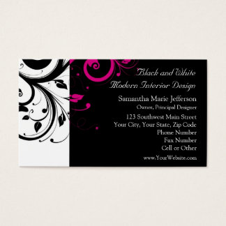 Black and White with Magenta Swirl Accent Business Card