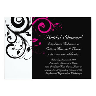 Black and White with Magenta Swirl Accent Card