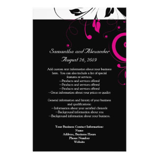 Black and White with Magenta Swirl Accent Custom Flyer