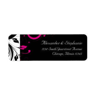 Black and White with Magenta Swirl Accent Label