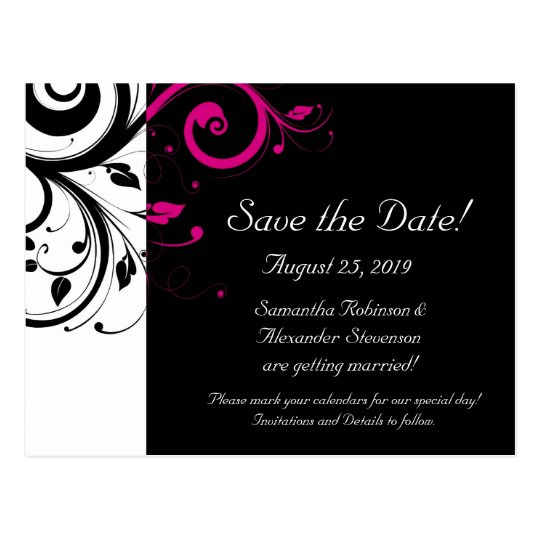 Black and White with Magenta Swirl Save the Date Postcard