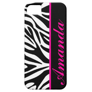 Black and White with Pink Zebra Custom Name iPhone SE/5/5s Case
