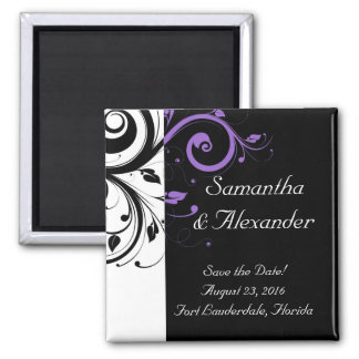 Black and White with Purple Swirl Accent 2 Inch Square Magnet
