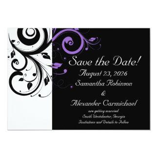 Black and White with Purple Swirl Accent 5x7 Paper Invitation Card