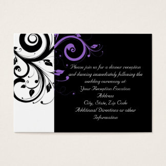 Black and White with Purple Swirl Accent Business Card
