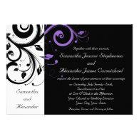 Black and White with Purple Swirl Accent Invitation