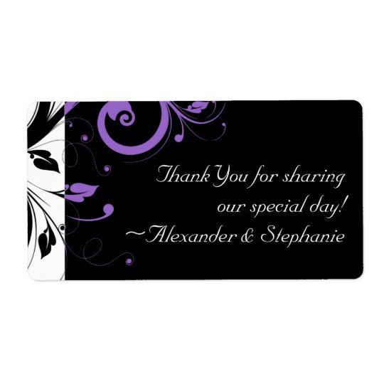 Black and White with Purple Swirl Accent Label