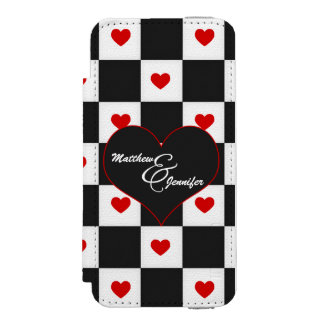 Black and White with Red Heart Checkerboard iPhone SE/5/5s Wallet Case