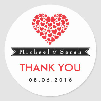 Black and White with Red Heart Wedding Sticker