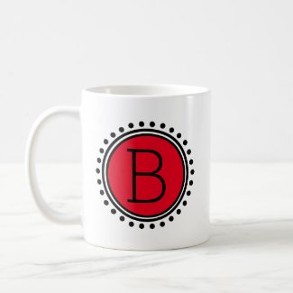 Black and White With Red Polka Dot Monogram Coffee Mug
