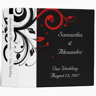 Black and White with Red Reverse Swirl 3 Ring Binder