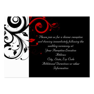 Black and White with Red Reverse Swirl Large Business Cards (Pack Of 100)